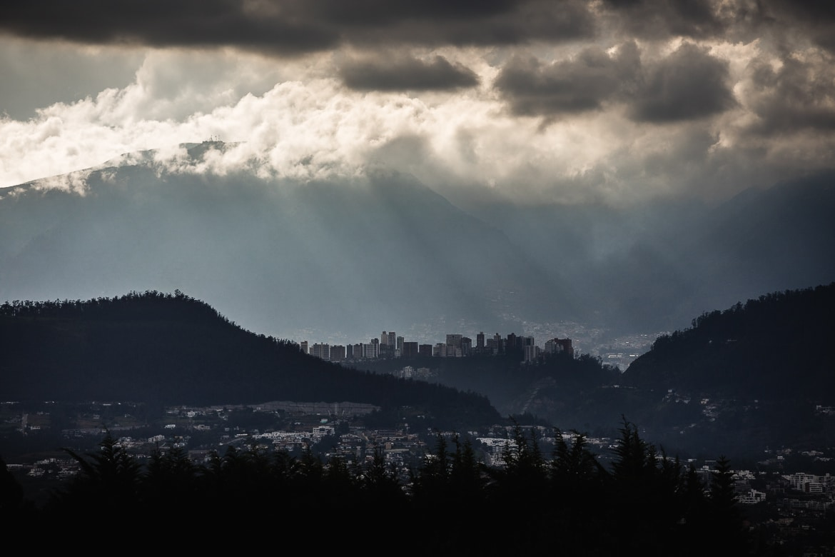 Cloud cover over Quito on our mountain biking Ecuador trip