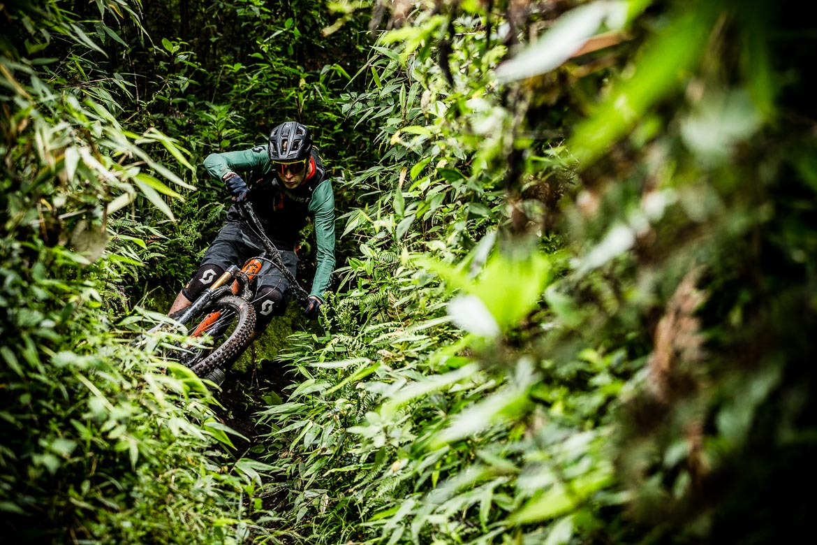 Dense jungle Mountain biking Ecuador