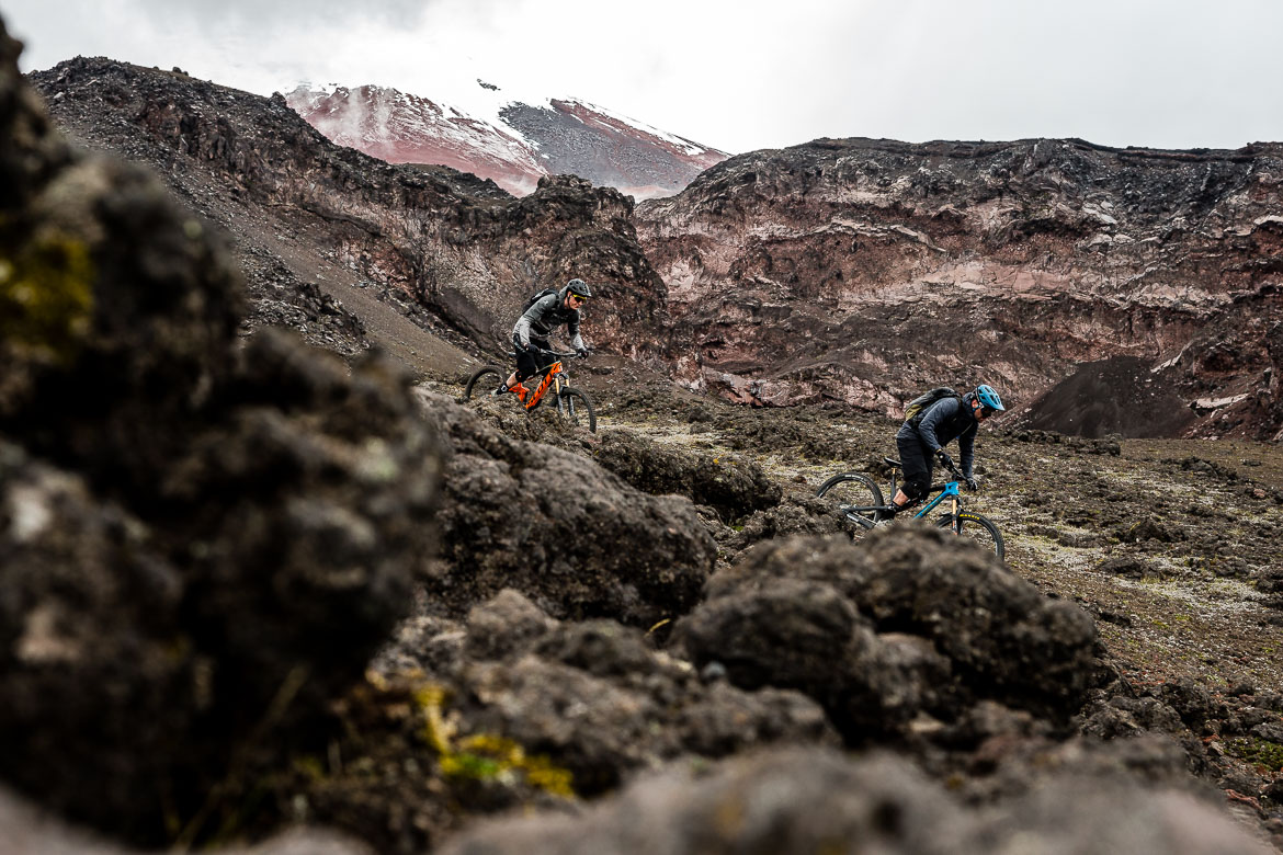 Rocky Cotopaxi trails on our Mountain biking Ecuador trip