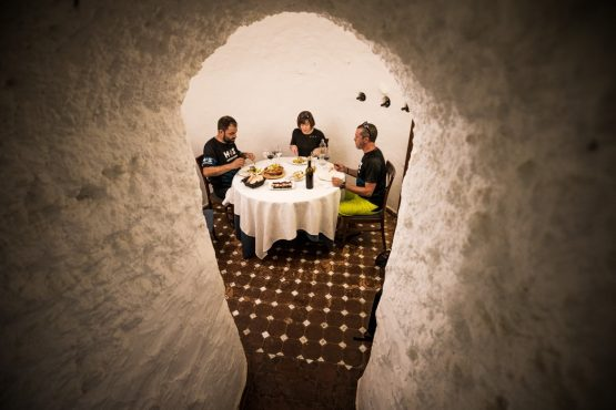 Lunch time in the caves - Mountain bike tour Spain