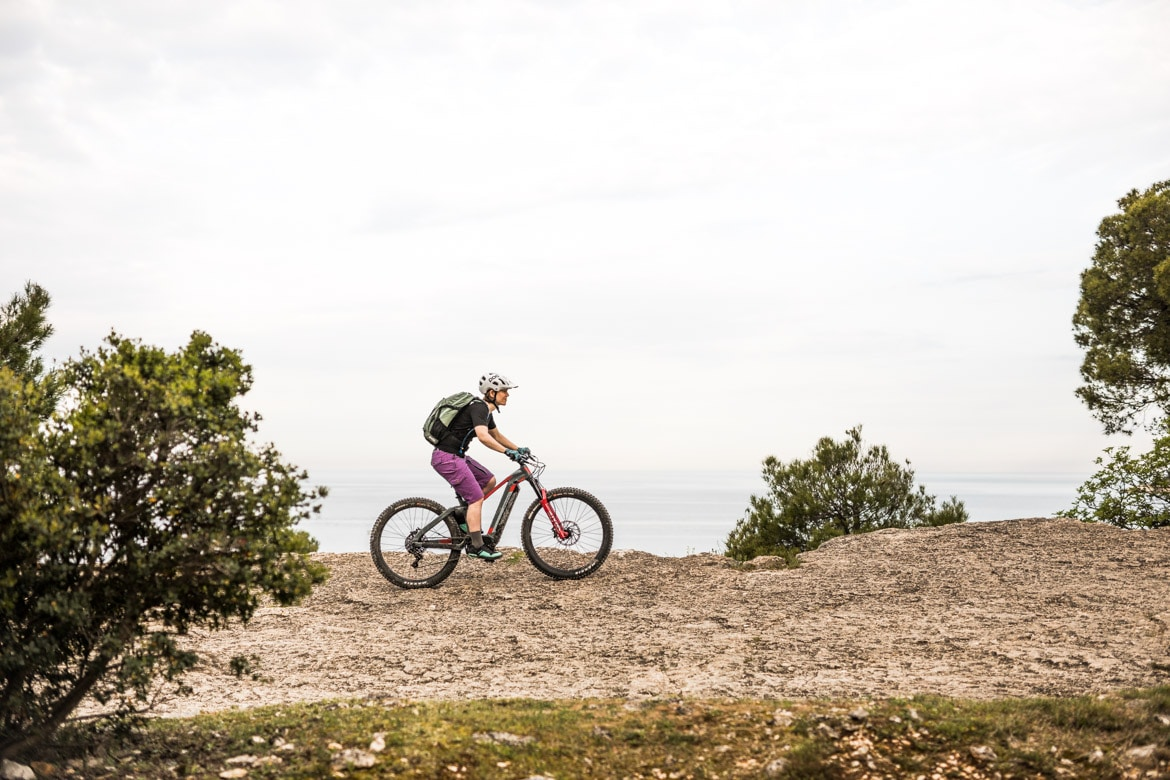 Riding just outside of Rovinj on a E-MTB Tour Croatia