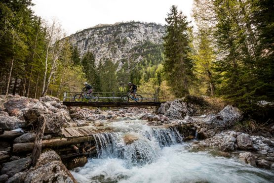 E-MTB tour of Slovenia crossing glacial streams
