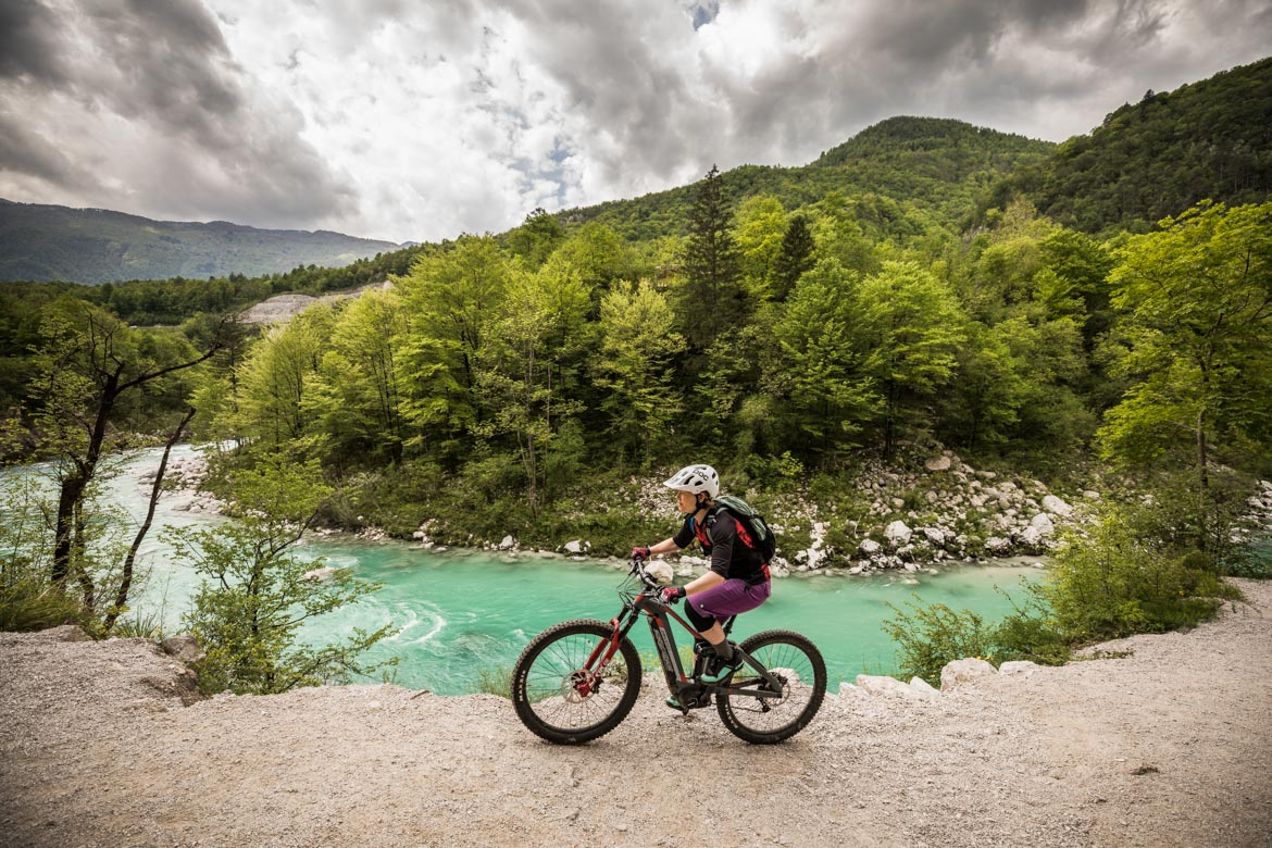 E-MTB tour of Slovenia turquoise waters of the Soča Valley