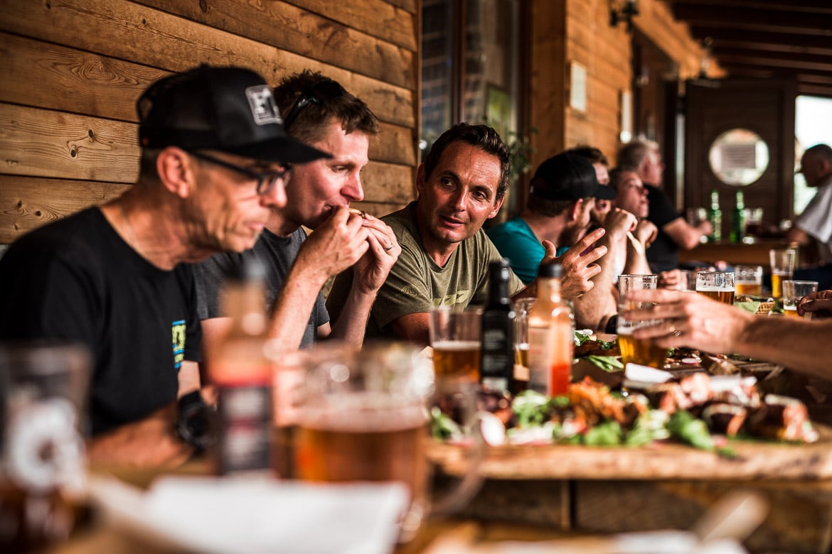 The journalists get stuck into the BBQ and beer during the Yeti SB165 & SB140 press launch