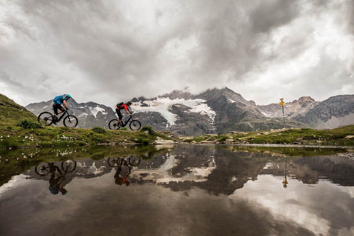 High up on the Bernina pass E-MTB Tour In Switzerland