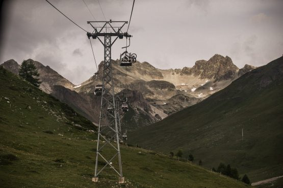 Using the gondola on a E-MTB Tour In Switzerland