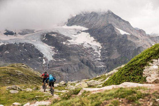 Moody mountains on a E-MTB Tour In Switzerland