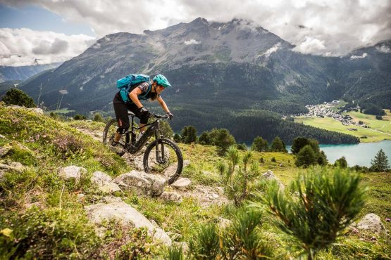 Imposing mountains on a E-MTB Tour In Switzerland