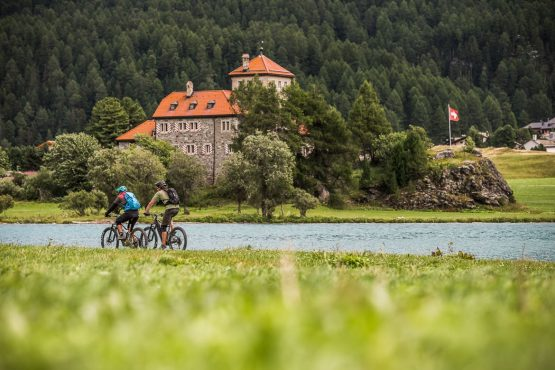 The sights of St. Moritz on a E-MTB Tour In Switzerland