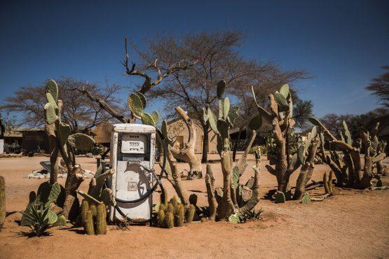 Stopping at Solitaire on a mountain bike safari tour Namibia