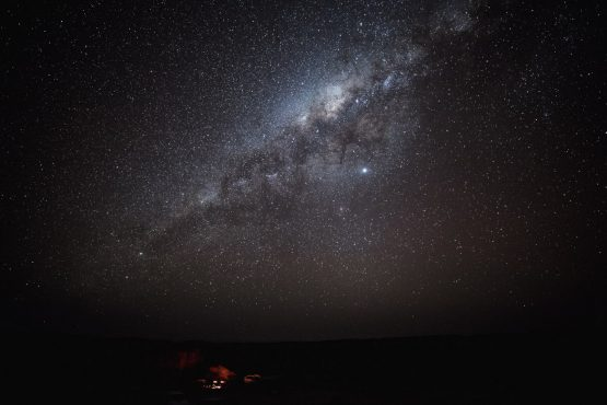 Gazing at the stars during a mountain bike safari tour Namibia