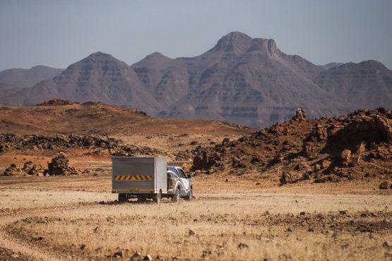 Our backup vehicle on a mountain bike safari tour Namibia