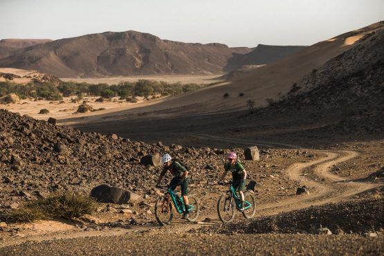 Leaving the river bed behind on a mountain bike safari tour Namibia