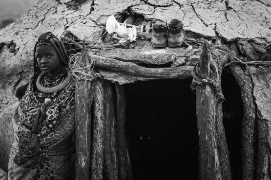 Visiting the local Himba tribe on a mountain bike safari tour Namibia
