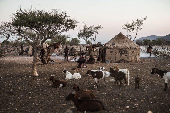 Leaving the local Himba tribe on a mountain bike safari tour Namibia