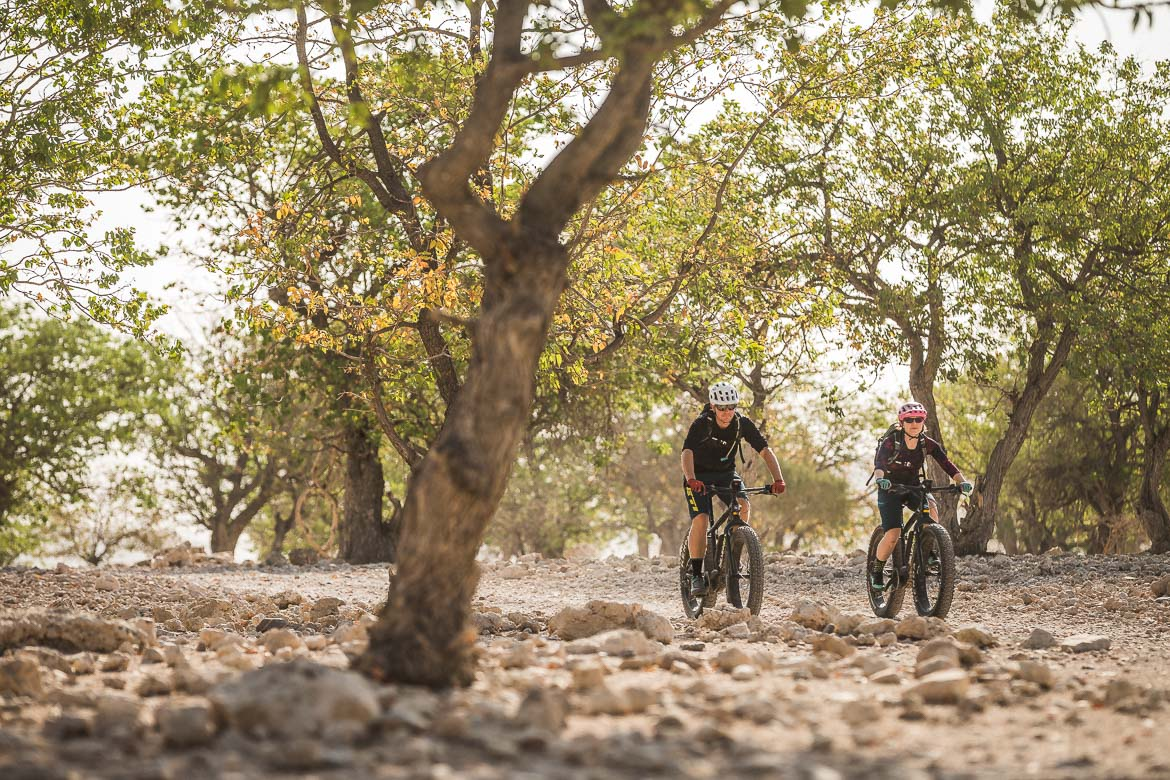 Cruising through the trees on a E-MTB safari of Namibia
