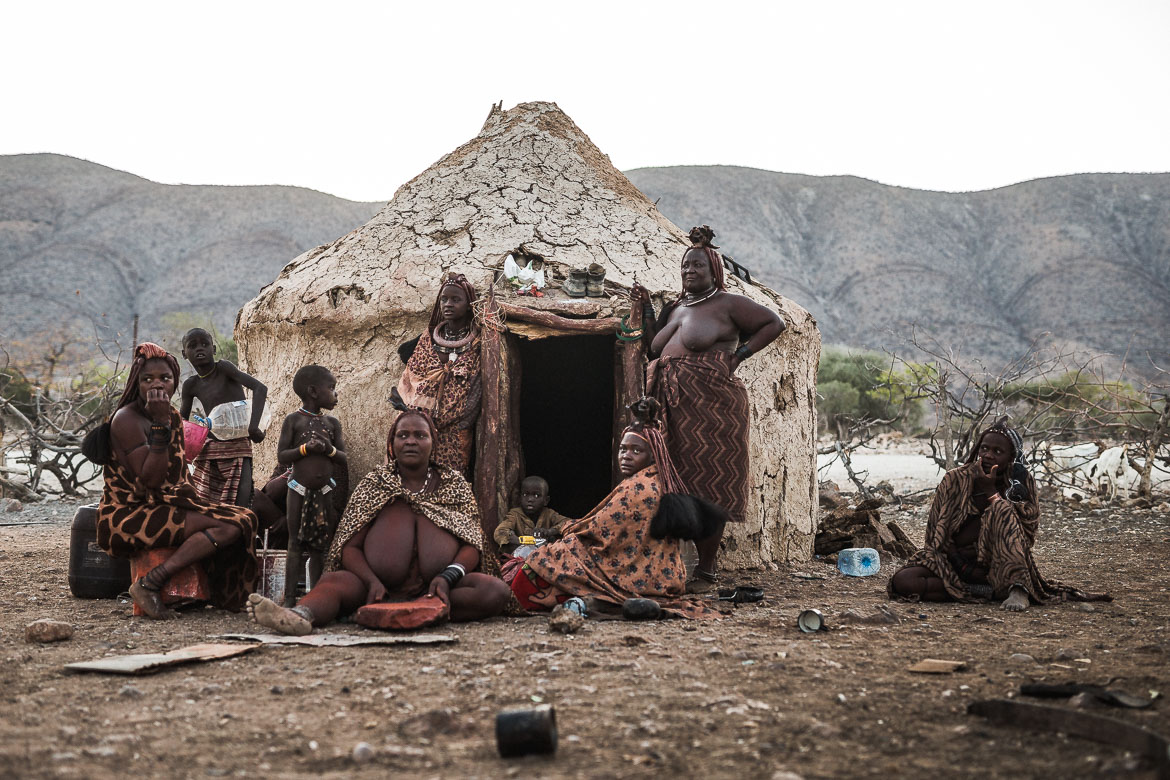 A Himba tribe settlement as seen on a E-MTB safari of Namibia
