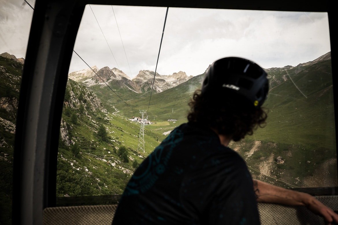 Heading up the gondola during an at home with local Swiss guide Dave Spielmann on a E-MTB tour in Switzerland