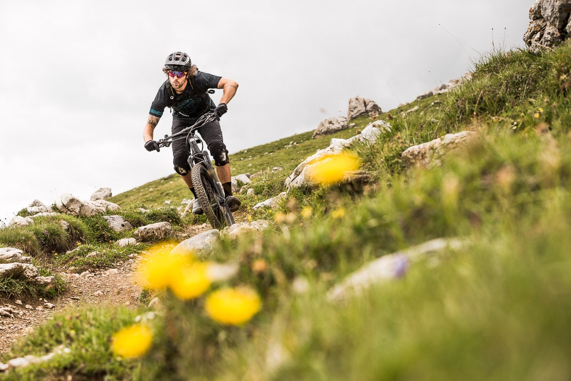 In the high alpine at home with local Swiss guide Dave Spielmann on a E-MTB tour in Switzerland