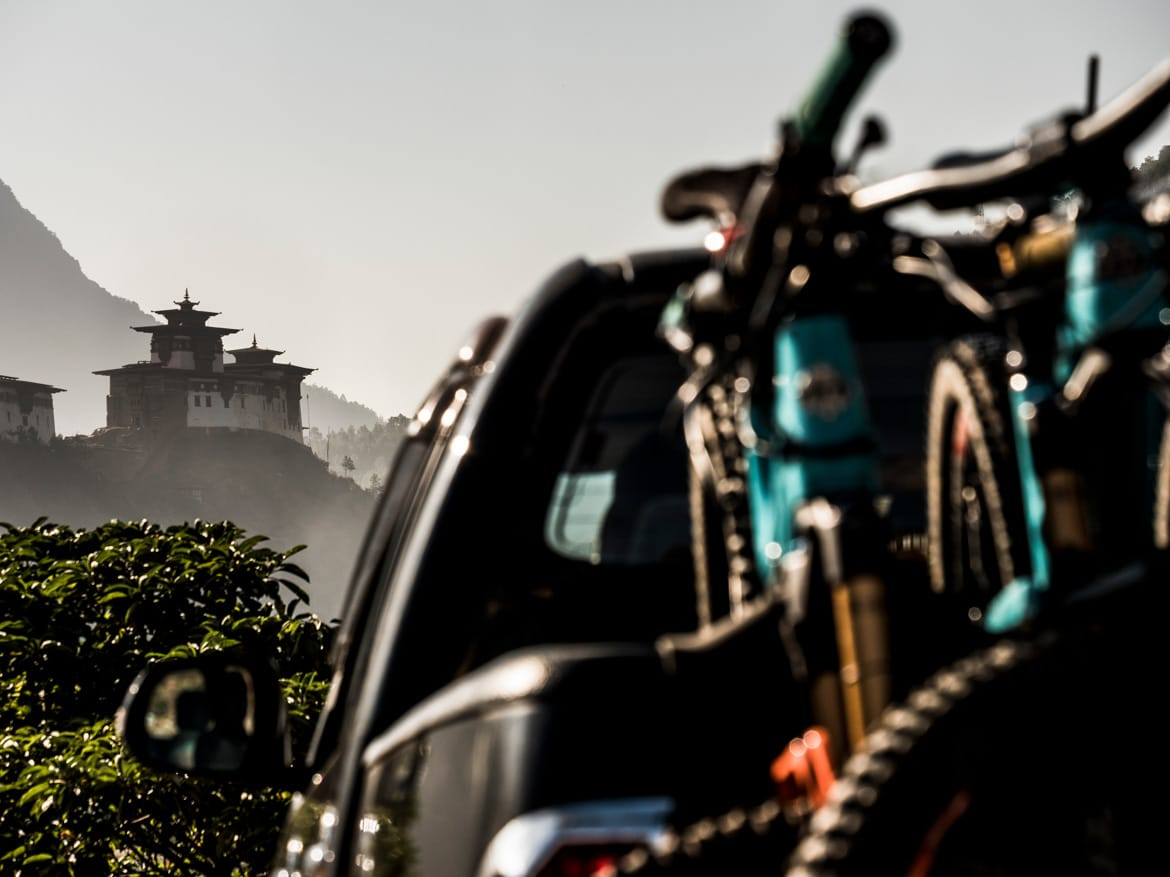 Loaded up and heading for the hills whilst mountain biking in Bhutan